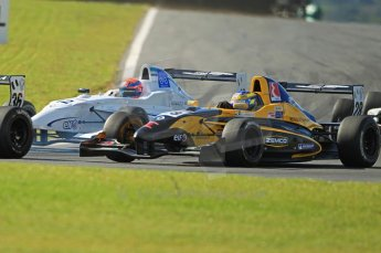 © Octane Photographic Ltd. 2011. Formula Renault 2.0 UK – Snetterton 300, Tio Ellinas and Jack Hawksworth  both of Atech Reid GP wheel to wheel through the Montreal hairpin. Sunday 7th August 2011. Digital Ref : 0123CB1D3610
