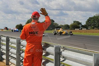 © Octane Photographic Ltd. 2011. Formula Renault 2.0 UK – Snetterton 300, Race 1 winner Tio Ellinas - Atech Reid GP, takes to salute of the trackside marshals. Sunday 7th August 2011. Digital Ref : 0123LW7D0534