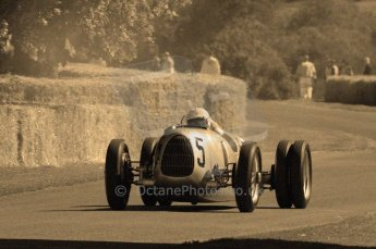 © Octane Photographic 2011. Goodwood Festival of Speed, Historic F1 Auto Union, Friday 1st July 2011. Digital Ref : 0101CB15495-sepia