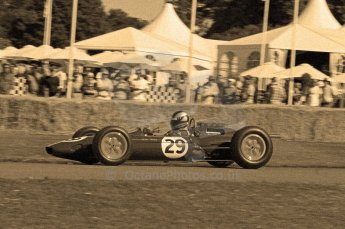© Octane Photographic 2011. Goodwood Festival of Speed, Friday 1st July 2011. Lotus-Climax 25 - Andy Middlehurst, Historic F1. Digital Ref : CB7D7392sepia