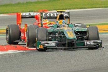 © Octane Photographic 2011. GP2 Official pre-season testing, Barcelona, Tuesday 19th April 2011. Lotus Art - Esteban Gutierrez, Racing Engineering - Dani Clos.  Digital Ref : 0052CB1D0489