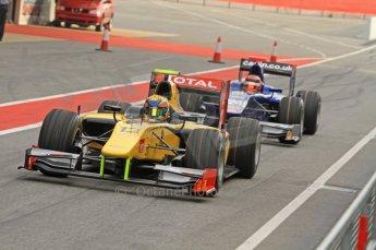© Octane Photographic 2011. GP2 Official pre-season testing, Barcelona, Tuesday 19th April 2011. DAMS - Pal Varhaug, Carlin - Max Chilton. Digital Ref : 0052CB7D0056