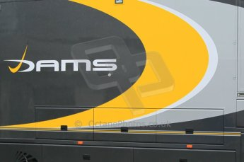 © Octane Photographic 2011. GP2 Official pre-season testing, Silverstone, Tuesday 5th April 2011. DAMS logo on transporter. Digital Ref : 0039CB1D6121