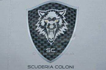 © Octane Photographic 2011. GP2 Official pre-season testing, Silverstone, Tuesday 5th April 2011. Scuderia Coloni logo on transporter. Digital Ref : 0039CB1D6129