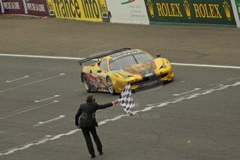 © Octane Photographic 2011. Le Mans finish line and podium - Sunday 11th June 2011. La Sarthe, France. Digital Ref : 0263cb1d3649