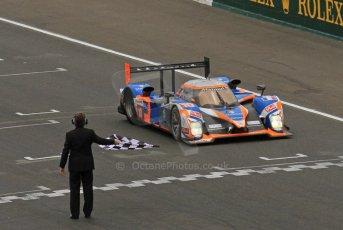 © Octane Photographic 2011. Le Mans finish line and podium - Sunday 11th June 2011. La Sarthe, France. Digital Ref : 0263lw7d7699