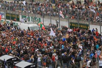 © Octane Photographic 2011. Le Mans finish line and podium - Sunday 11th June 2011. La Sarthe, France. Digital Ref : 0263lw7d8117