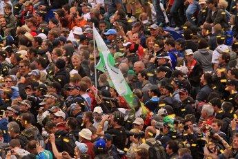 © Octane Photographic 2011. Le Mans finish line and podium - Sunday 11th June 2011. La Sarthe, France. Digital Ref : 0263lw7d8277