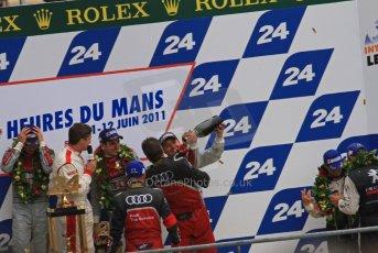 © Octane Photographic 2011. Le Mans finish line and podium - Sunday 11th June 2011. La Sarthe, France. Digital Ref : 0263lw7d8358