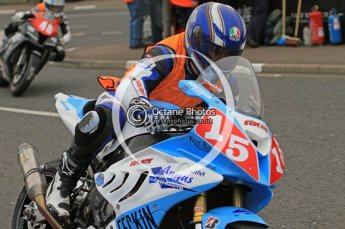 © Octane Photographic 2011. NW200, 17th May 2011 Newcomers practice. Kirk Jamison, BMW - Jim Angus Contracts; Luis Carreira, Honda - CD Racing. Digital ref :