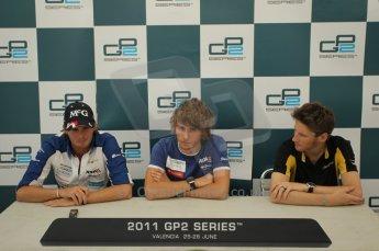 © Octane Photographic Ltd. 2011. European Formula1 GP, Friday 24th June 2011. GP2 Qualifying. GP2 qualifying press conference, Charles Pic and Giedo Van der Garde - Barwa Addax Team, Romain Grosjean - Dams. Digital Ref:  0084CB1D7470