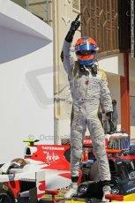 © Octane Photographic Ltd. 2011. European Formula1 GP, Saturday 25th June 2011. GP2 Race 1. Romain Grosjean triumphant after the win in the DAMS car. Digital Ref:  0085CB1D8260