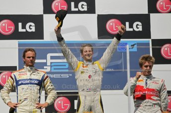 © Octane Photographic Ltd. 2011. European Formula1 GP, Saturday 25th June 2011. GP2 Race 1. Romain Grosjean, Giedo Van der Garde and Davide Valsecchi triumphant. Digital Ref: 0085CB1D8373