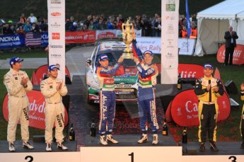 © North One Sport Ltd 2011 / Octane Photographic Ltd 2011. 13th November 2011 Wales Rally GB, Podium. The 3 top crews - Jari-Matti Latvala and Miikka Antilla, Mads Ostberg and Jonas Ansersson and in 3rd Henning Solberg and Ilka Minor. Digital Ref : 0201cb7d9096