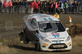 © North One Sport Ltd 2011 / Octane Photographic Ltd 2011. 12th November 2011 Wales Rally GB, WRC SS13 Sweet Lamb. Alistair Fisher and Daniel Barritt in their Ford Fiesta take it on the nose through the famous jumps. Digital Ref : 0199lw7d0217