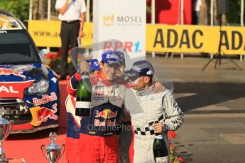© North One Sport Ltd.2011/Octane Photographic Ltd. WRC Germany – Final Podium - Sunday 21st August 2011. Carlos Corral and Julien Ingrassia salute the camera. Digital Ref : 0153CB1D6499