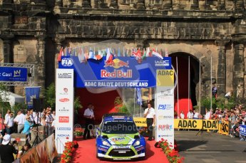 © North One Sport Ltd.2011/Octane Photographic Ltd. WRC Germany – Final Podium - Sunday 21st August 2011. Dennis Kuipers and Frederic Miclotte - Ford Fiesta RS WRC. Digital Ref : 0153CB7D0710