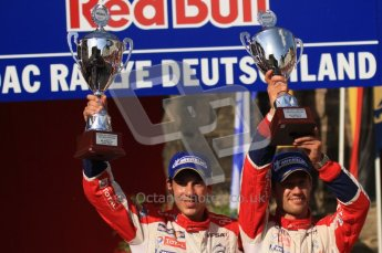 © North One Sport Ltd.2011/Octane Photographic Ltd. WRC Germany – Final Podium - Sunday 21st August 2011. Sebastien Ogier and Julian Ingrassia - Citroen DS3 WRC. Digital Ref : 0153LW7D0080