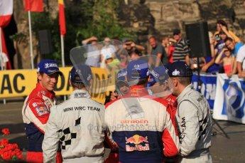 © North One Sport Ltd.2011/Octane Photographic Ltd. WRC Germany – Final Podium - Sunday 21st August 2011. Loeb, Elena, Ogier, Ingrassia, Sordo and Corral congratulate each other. Digital Ref : 0153LW7D0343