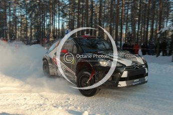 ©  North One Sport Limited 2011/Octane Photographic. 2011 WRC Sweden SS10 Fredericksberg, Saturday 12th February 2011, Kimi Raikkonen/Kaj Lindstrom, Citroen DS3 WRC. Digital ref : 0142CB1D7351