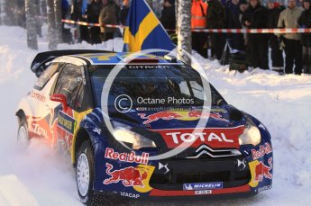 ©  North One Sport Limited 2011/Octane Photographic. 2011 WRC Sweden SS10 Fredericksberg, Saturday 12th February 2011, Sebastien Loeb/Daniel Elena, Citroen DS3 WRC. Digital ref : 0142LW7D8939