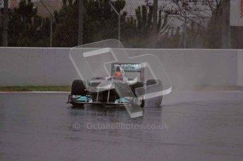 World © Octane Photographic 2011.  Formula 1 testing Saturday 12th March 2011 Circuit de Catalunya. Mercedes MGP W02 - Michael Shumacher. Digital ref : 0018LW7D5782