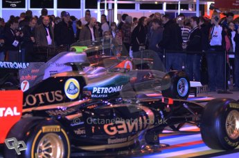© Octane Photographic Ltd. 2012. Autosport International F1 Cars Old and New. The crowds around the Renault and Mercedes show cars on the F1 display. Digital Ref : 0207cb1d0863