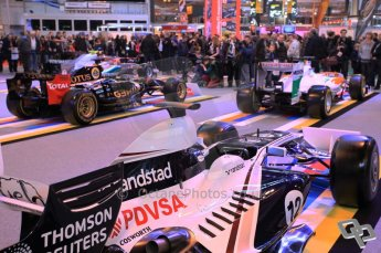© Octane Photographic Ltd. 2012. Autosport International F1 Cars Old and New. The crowds around the Mercedes, Williams, Force India and Renault show cars on the F1 display. Digital Ref : 0207cb7d1927