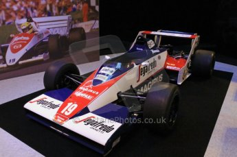 © Octane Photographic Ltd. 2012. Autosport International F1 Cars Old and New. Ex-Ayrton Senna Toleman TG183B in the Senna display, Historic F1. Digital Ref : 0207cb7d0188