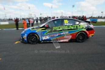 © Octane Photographic Ltd. BTCC - Round Two - Donington Park - Race 1. Sunday 15th April 2012. Jason Plato arrives on the grid. Digital ref : 0295lw1d7660