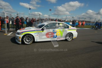 © Octane Photographic Ltd. BTCC - Round Two - Donington Park - Race 1. Sunday 15th April 2012. Nick Foster arrives on the gird. Digital ref : 0295lw1d7684