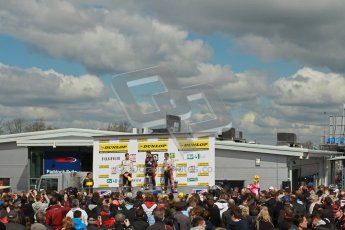 © Octane Photographic Ltd. BTCC - Round Two - Donington Park - Race 1. Sunday 15th April 2012. Mat Jackson, Matt Neal and Gordon Shedden on the podium. Digital ref : 0295lw1d8006