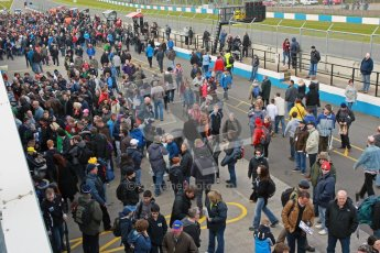 © Octane Photographic Ltd. BTCC - Round Two - Donington Park - Race 1. Sunday 15th April 2012. The post race crowds gather in the pitlane. Digital ref : 0295lw1d8014