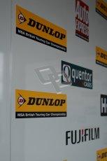 © Octane Photographic Ltd. BTCC - Round Two - Donington Park - Race 1. Sunday 15th April 2012. Dunlop MSA British Touring Car Championship logo. Digital ref : 0295lw1d8081