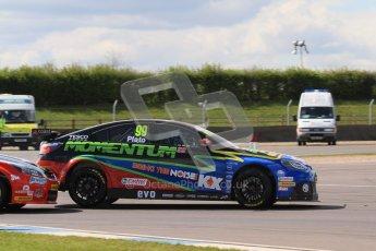 © Octane Photographic Ltd. BTCC - Round Two - Donington Park - Race 1. Sunday 15th April 2012. Mat Jackson gets his nose inside Jason Plato through the Esses. Digital ref : 0295lw7d3563