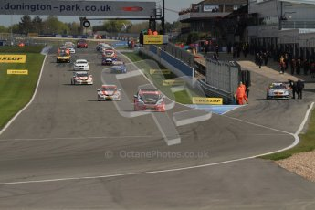© Octane Photographic Ltd. BTCC - Round Two - Donington Park - Race 2. Sunday 15th April 2012. The formation lap gets underway for race 2. Digital ref : 0296lw7d4293