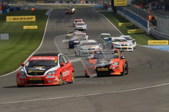© Octane Photographic Ltd. BTCC - Round Two - Donington Park - Race 2. Sunday 15th April 2012. The grid warm their tyres on the formation lap for race 2. Digital ref : 0296lw7d4326