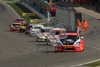 © Octane Photographic Ltd. BTCC - Round Two - Donington Park - Race 2. Sunday 15th April 2012. Mat Jackson holding his lead into Redgate in his Redstone Racing Ford Focus. Digital ref : 0296lw1d8171