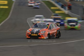 © Octane Photographic Ltd. BTCC - Round Two - Donington Park - Race 2. Sunday 15th April 2012. Frank Wrathall at speed into Redgate in his Dynojet Toyota Avensis. Digital ref : 0296lw7d4543