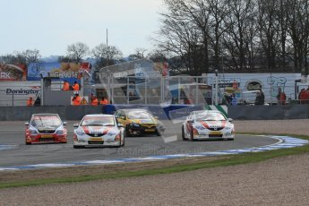 © Octane Photographic Ltd. BTCC - Round Two - Donington Park - Race 2. Sunday 15th April 2012. Gordon Shedden leading a fight through Redgate, Digital ref : 0296lw7d5097