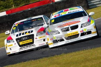 © Octane Photographic Ltd./Chris Enion. British Touring Car Championship – Round 6, Snetterton, Saturday 11th August 2012. Free Practice 1. Nick Foster - eBay Motors, BMW 320si E90 and Rob Austin - Rob Austin Racing, Audi A4. Digital Ref : 0452ce1d0099