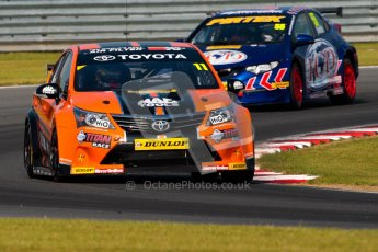 © Octane Photographic Ltd./Chris Enion. British Touring Car Championship – Round 6, Snetterton, Saturday 11th August 2012. Free Practice 1. Frank Wrathall - Dynojet, Toyota Avensis and Jeff Smith - Pirtek Racing, Honda Civic. Digital Ref : 0452ce1d0137