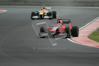 © 2012 Octane Photographic Ltd. Hungarian GP Hungaroring - Friday 27th July 2012 - F1 Practice 2. Marussia MR01 - Timo Glock and Nico Hulkenberg. Digital Ref : 0426lw1d6070