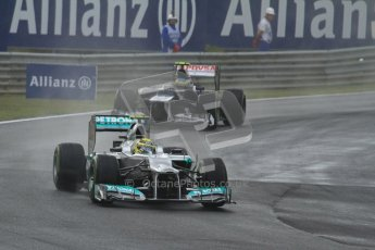 © 2012 Octane Photographic Ltd. Hungarian GP Hungaroring - Friday 27th July 2012 - F1 Practice 2. Mercedes W03 - Nico Rosberg and Williams FW34 - Bruno Senna. Digital Ref : 0426lw7d0032