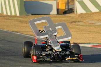 © 2012 Octane Photographic Ltd. Barcelona Winter Test 1 Day 1 - Tuesday 21st February 2012. Lotus E20 - Romain Grosjean. Digital Ref : 0226lw1d6097