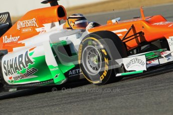 © 2012 Octane Photographic Ltd. Barcelona Winter Test 1 Day 1 - Tuesday 21st February 2012. Force India VJM05 - Nico Hulkenberg. Digital Ref : 0226lw1d7236