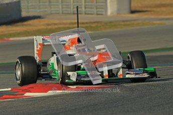 © 2012 Octane Photographic Ltd. Barcelona Winter Test 1 Day 2 - Wednesday 21st February 2012. Force India VJM05 - Nico Hulkenberg. Digital Ref :  0227lw1d7600