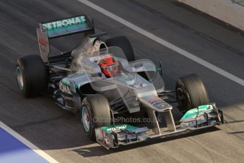 © 2012 Octane Photographic Ltd. Barcelona Winter Test 1 Day 1 - Thursday 23rd February 2012. Mercedes W03 - Michael Schumacher. Digital Ref : 0228lw7d4011