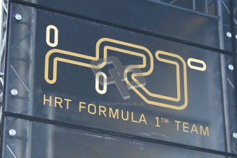 © 2012 Octane Photographic Ltd. Barcelona Winter Test 2 Day 1 - Thursday 1st March 2012. HRT team logo. Digital Ref : 0231cb1d1681