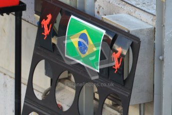 © 2012 Octane Photographic Ltd. Barcelona Winter Test 2 Day 1 - Thursday 1st March 2012. Ferrari F2012 - Felipe Massa's pit board. Digital Ref : 0231cb7d7917